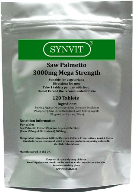 Saw Palmetto 3000mg Mega Strength x 120/360 Tablets; Synvit